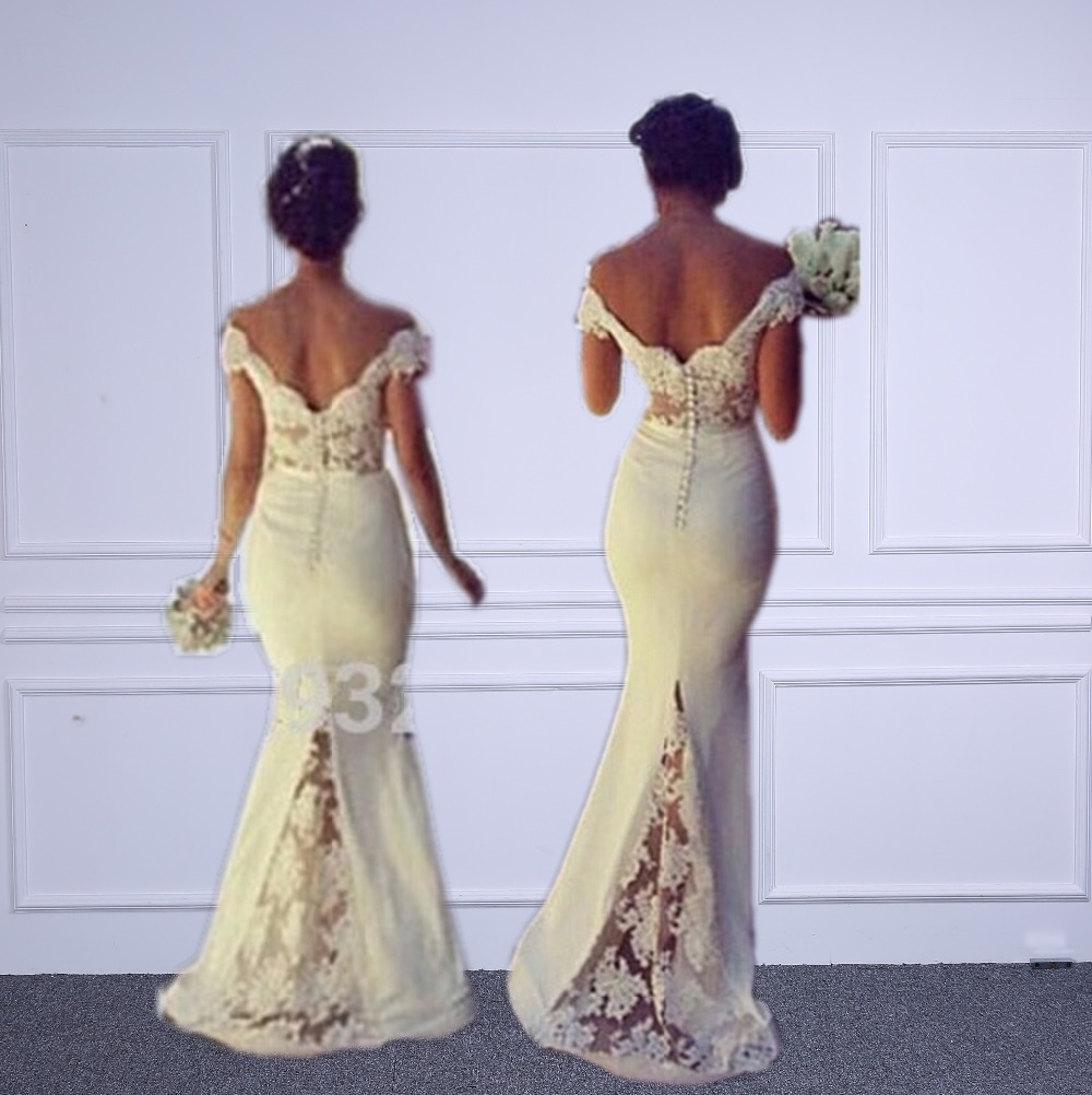 Sexy Sweetheart Lace Cap Sleeves Sexy   Bridesmaid     Dresses   2018 Custom Made See Through Mermaid Vestido De Festa De Casamento
