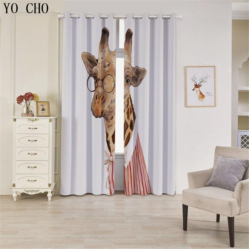 YO CHO Nuovo Prodotto 3d tende blackout Zebra Animale rideaux cervo ragazzi tende per bambini che vivono room135 * 245 cm 2 PZ gordijnen - 6