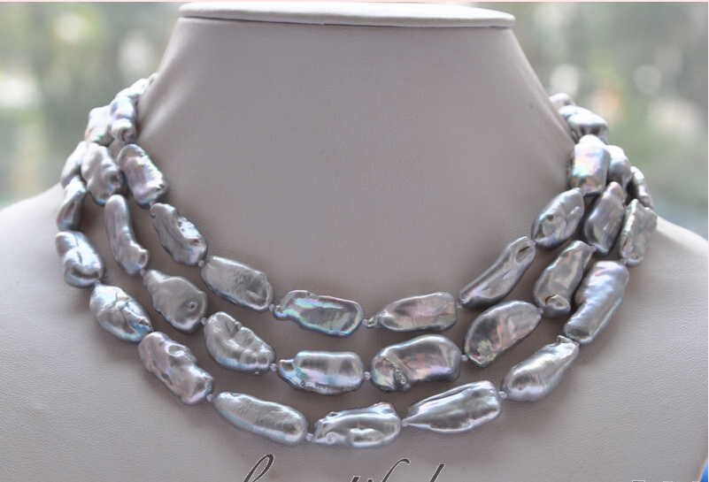 FREE shipping> >>>z4684 48 25mm dens gray biwa freshwater pearl necklace