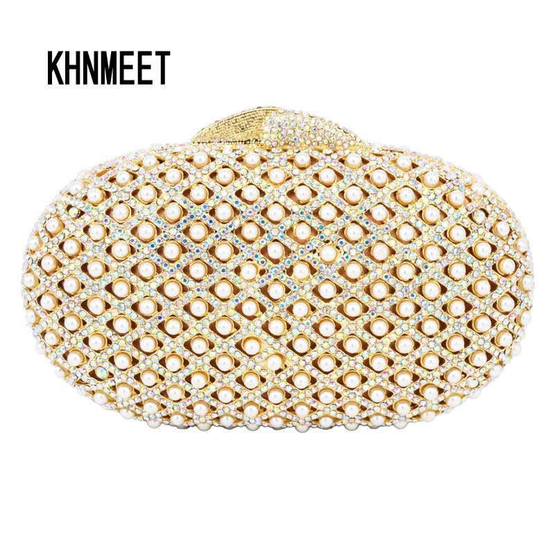 Fashion Unique Crystal Pearl Luxury Clutch Bag Female Purse Hollow Out Oval Pearl Evening bag Bridal Wedding Feast Handbag SC548 magnit rmm 2222