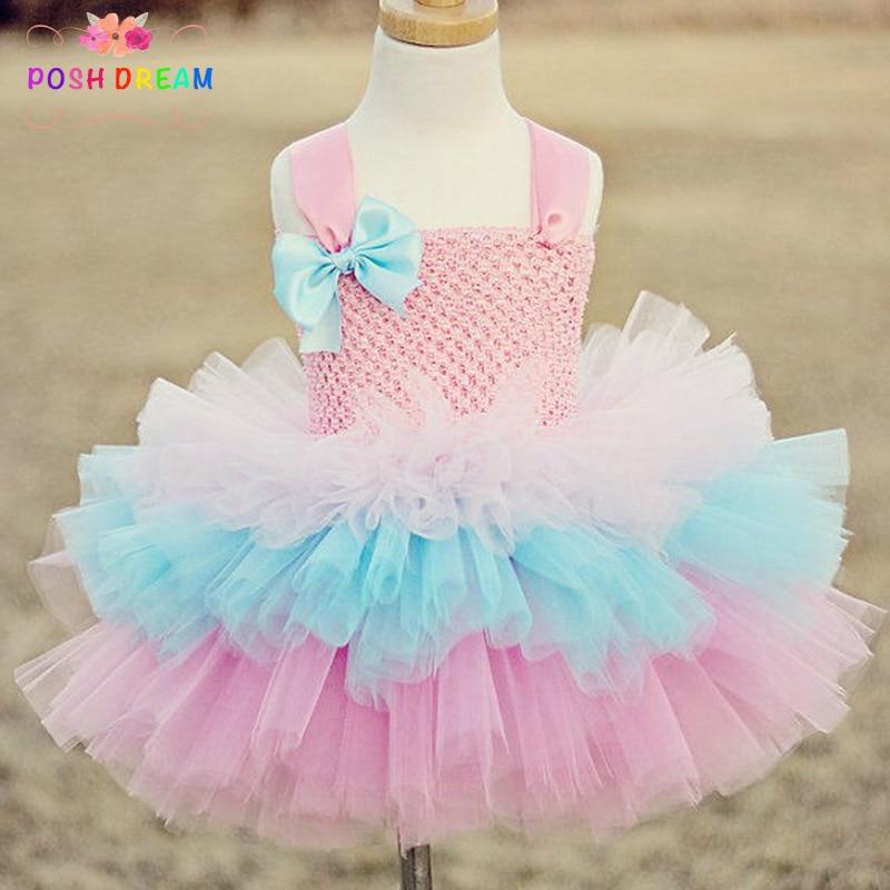 POSH DREAM Easter Holiday Kids Girl Dress Pink Blue Children Girl Princess Tutu Dress Toddler Baby  Ball Gown Kids Girl Clothes