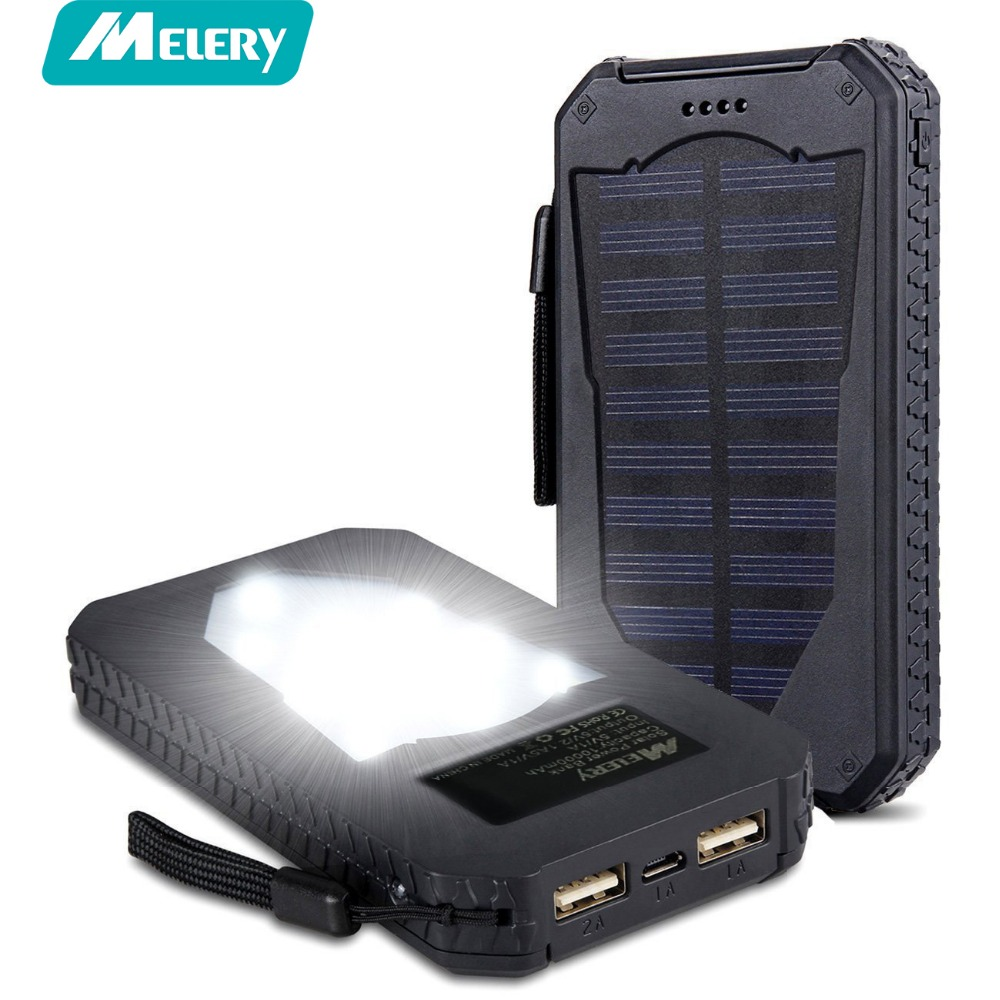 Outdoor Solar Power Bank 15000mAh Waterproof Dual USB Portable with Led Torch Battery Pack Shock proof Recharable battery