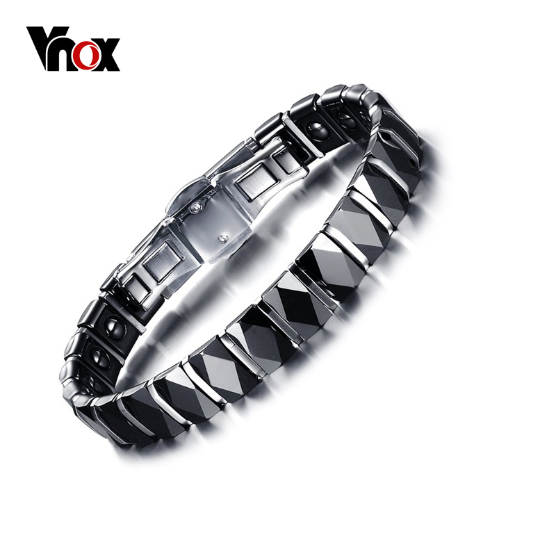 Vnox Healthy Hematite Bracelet Women Jewelry 10mm Wide Black Ceramic Bracelets & Bangles Jewelry 17cm