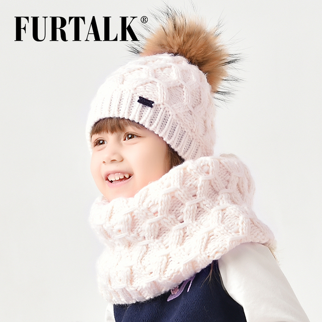 FURTALK 2-8 years wool child winter hat scarf set for girls and boys real fur pompom hats and infinity scarves SFFW032