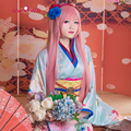 Megurine Luka Cosplay VOCALOID Blue Thick Satin Kimono Uwowo Costume Full Set