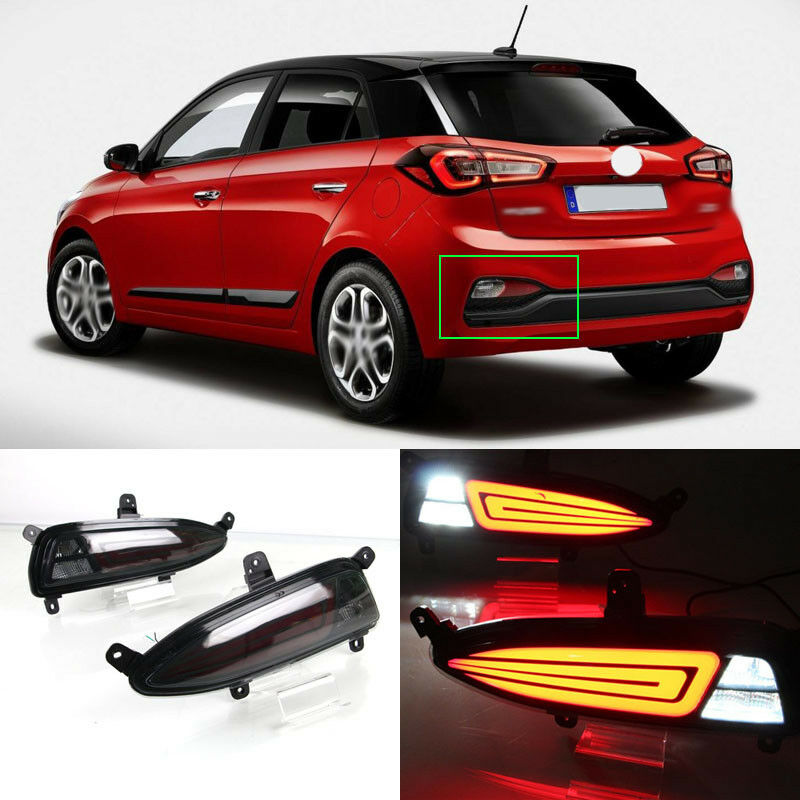 LED Rear Bumper Reflector Fog Brake Turn Indicator Lights For Hyundai i20 2018