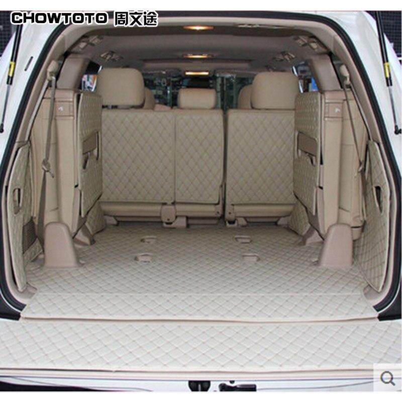 CHOWTOTO Kundenspezifische Sonder Stamm Matten Für Toyota Land Cruiser 7/8 Sitze Wasserdicht Boot Teppiche Für Toyota LC120 LC200 Lagguge Pad
