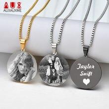 4da376b73be9 Auxauxme grabar foto ronda colgante de collar para las mujeres personalizado  cercanas Etiqueta de perro medalla collar con eslab.