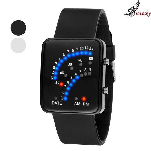 Lovesky  High Quality Women Mens Futuristic Japanese Style Multicolor LED Sport Wrist Watch Wholesale & Freeshipping
