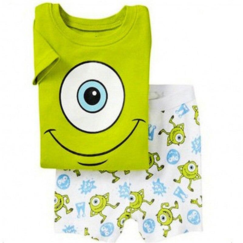 New kids cotton summer short sleeve girls pajamas children animal printing pajamas kids Cartoon pijamas for boys S039