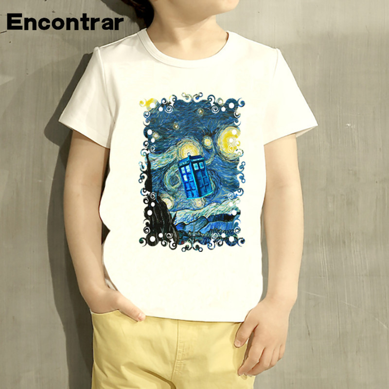 Kids Doctor Who Booth Starry The Night Design T Shirt Boys/Girls Great Casual Short Sleeve Tops Children Cute T-Shirt,HKP2157