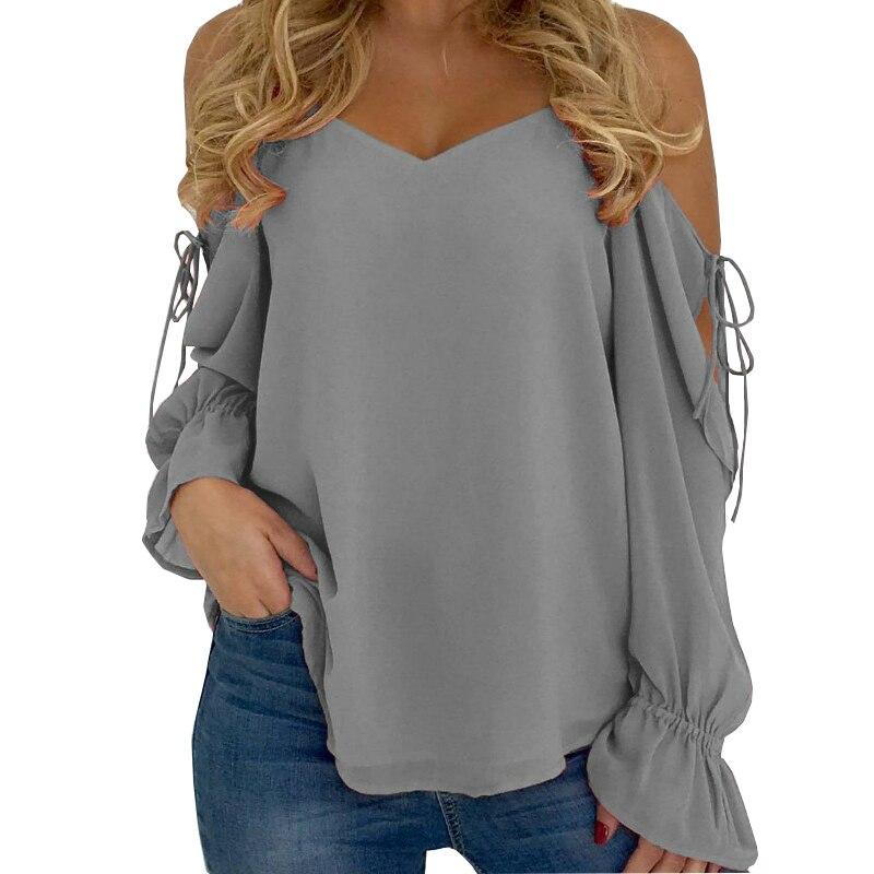 Fashion Women Blouse Off Shoulder Shirt 2019 Summer Cold Off Shoulder Chiffon Feminine Blouses Ladies Tops A020 striped long cardigan grey