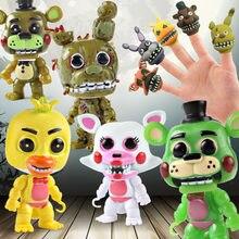 De cinco noches en Freddy figuras de acción de juguete bebé FNAF Foxy Freddy Chica dedo de la mano de marionetas de mano modelo muñecas juguetes para niños 9,5 CM