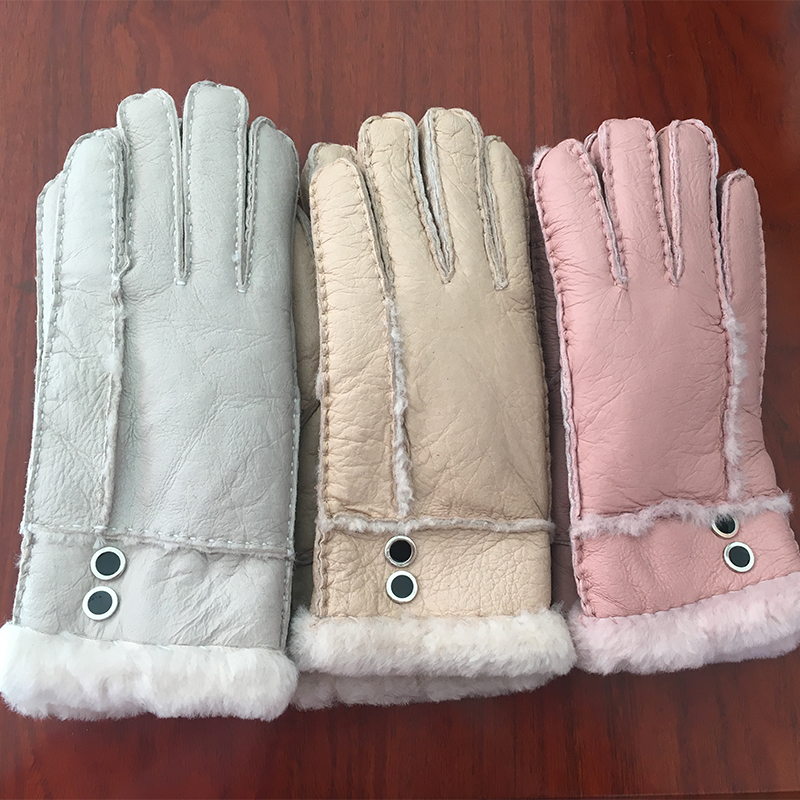 Elegant gloves Winter Women Gloves Wool Genuine Leather Sheepskin Gloves Solid Sheep Fur Mittens Elegant Warm Female Gloves G13