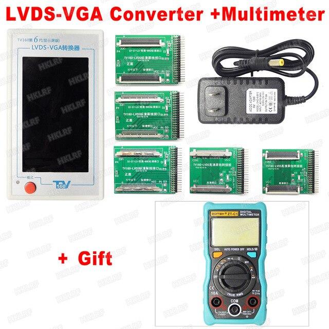 2019 mais novo tv160 geração completa display hd lvds transformar vga led/lcd tv placa mãe testador ferramentas conversor com 5 adaptadores tv teste