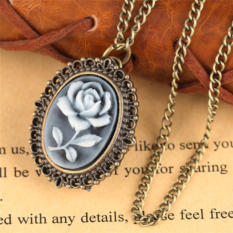 3 Type Retro Flower Rose Butterfly Design Quartz Pocket Watch Ladies Women Girl Necklace Pendant With Chain Birthday Gifts Clock