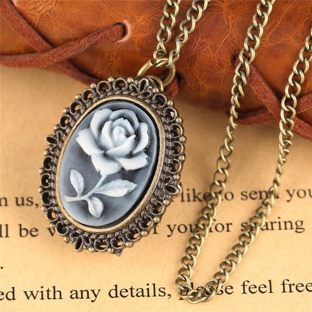 3 Type Retro Flower Rose Butterfly Design Quartz Pocket Watch Ladies Women Girl