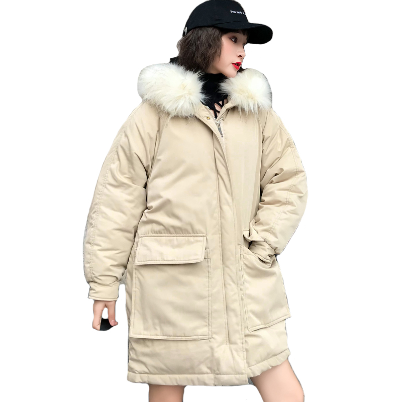 Korean Style 2019 Women Winter Jacket Oversize Loose With Fur Collar Hooded Womens   Down     Coat   Long Padded Parka Mujer Invierno