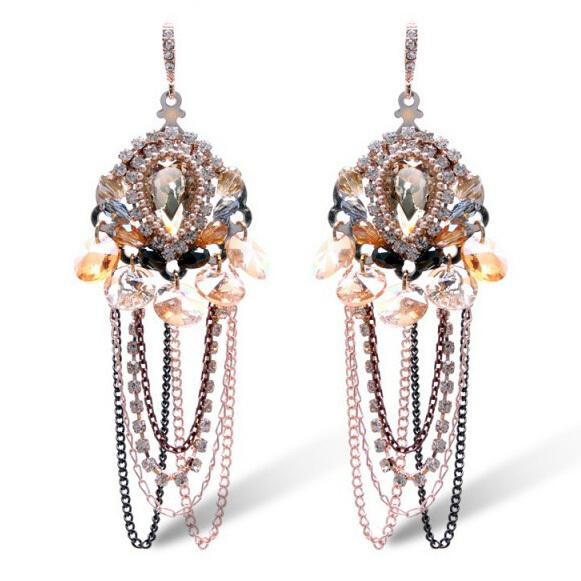 Boho nobre elegante longa borla Beads Brincos feitos à mão Brincos jóias Bijoux Femme de natal cadeia queda Brincos Aretes E522