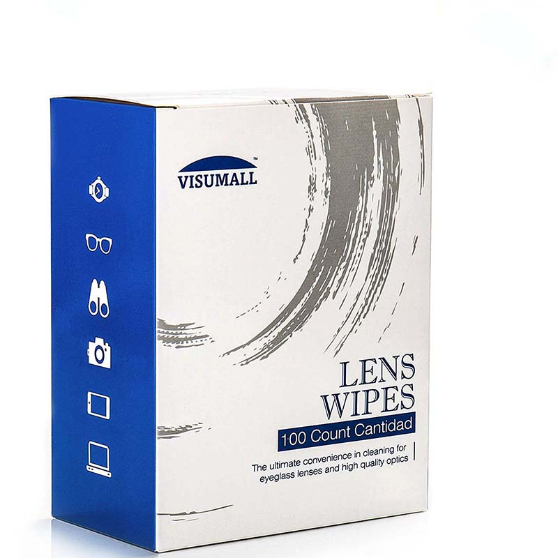 VISUMALL Alcohol-free pre-moistened anti-static anti-fog lens cleaning wipes cloths phone screen glasses camera 100 wipes(China)