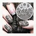 YZWLE Stamping Nail Art Placa de la Imagen del Patrón de Flor de La Navidad de La Vendimia 5.6 cm Polaco Manicura Herramienta de Plantilla de la Plantilla De Acero Inoxidable
