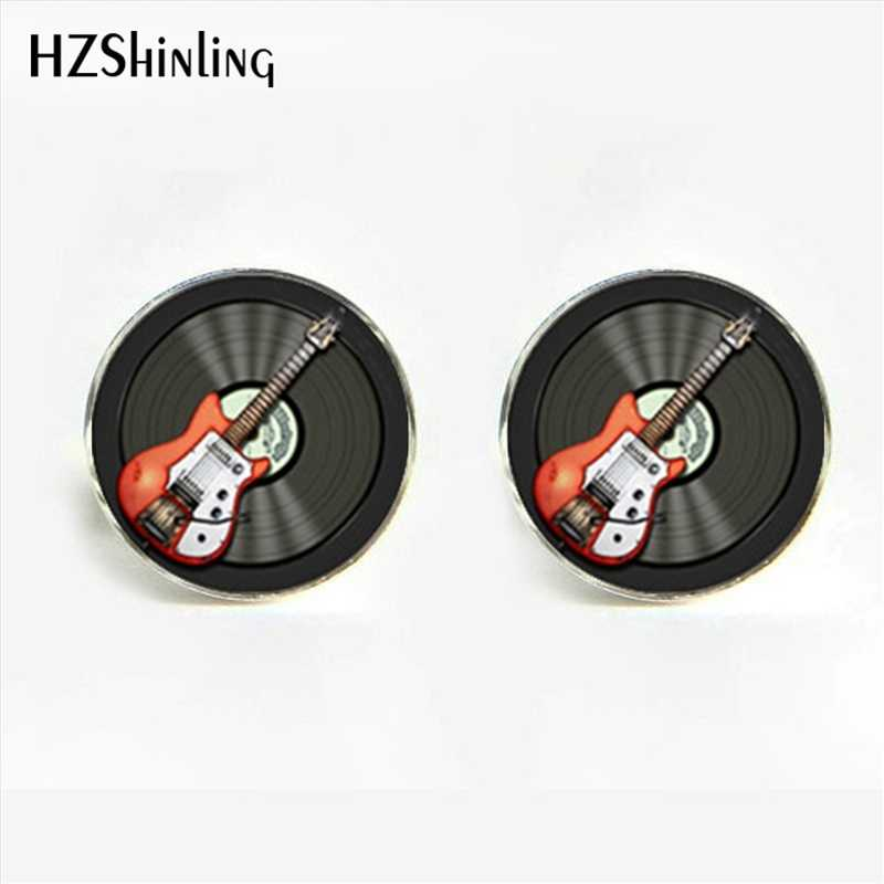 HZShinling 2017 New Fashion Guitar Cufflinks Rock and roll Music CD Cufflink Men's Jewelry Music Theme Wedding Guitar Cuff link