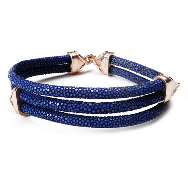 Blue leather with copper gold buckle fashion stingray bracelet