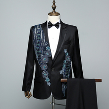 New Fashion Mens Slim Sequins Suits Adult Stage Chorus Dress Singer Host Show Embroidery 2-piece Set Suit Jacket+pant