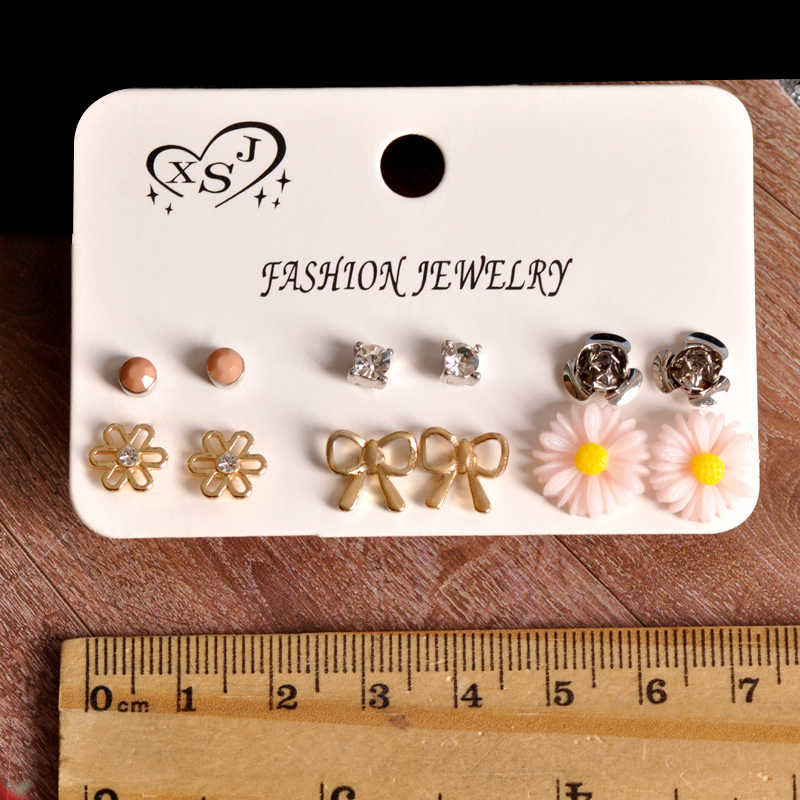 2019 New fashion women's jewelry wholesale girl party bowknot floral stud earrings mix and match type 6 pairs /set earrings gift