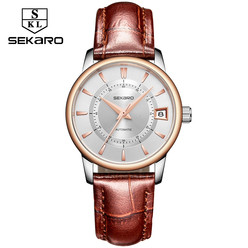Genuine Sekaro Brand Women Leather Strap Automatic Mechanical Self-wind Simple Watches Blue Surface Watch Top Brand Luxury ClockGenuine Sekaro Brand Women Leather Strap Automatic Mechanical Self-wind Simple Watches Blue Surface Watch Top Brand Luxury Clock