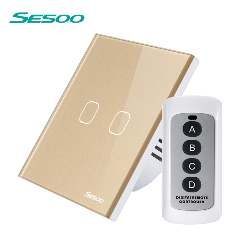 купить SESOO Wireless Remote Control Light Switches 2 Gang 1 Way The Switch of Touch Waterproof Crystal Glass Panel Switch with Remote
