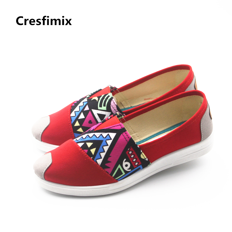 Cresfimix women fashion red pattern flat shoes lady cute spring & summer slip on canvas shoes female cool high quality shoes cresfimix women fashion