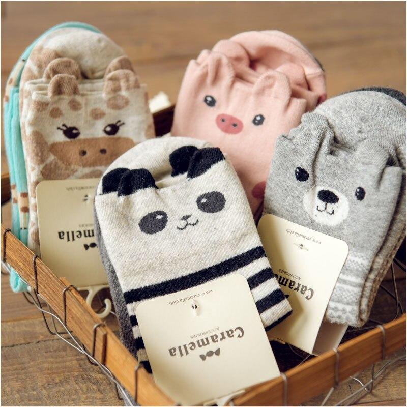3 85 16 De Réduction Kawaii Femmes 3d Animal Cheville Chaussettes Mignon Japonais Femmes Panda Cochon Ours Girafe Dessin Animé Coton Chaussette 2