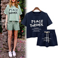 2016 Vestido New Summer Fashion Women Clothing Set Green White Blue Tops T shirts And Shorts Sets 2 Pieces Set Women clothing