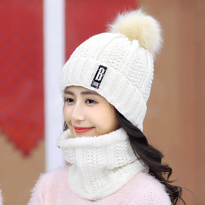 Bonnet chaud tricoté à pompom fourrure pour femme, écharpe en laine, de marque, de bonne qualité, de ski, collection d'hiver