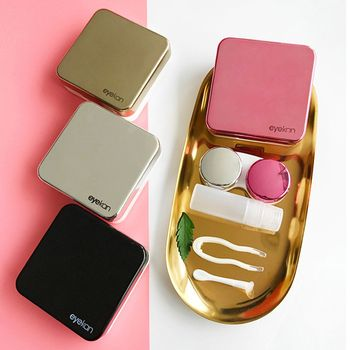 Colored Contact Lens Case With Mirror women Colored Contact Lenses box eyes contact lens container Lovely Travel kit box luxury roundness contact lens case color water eye lens box popular travel lens case contact with mirror