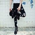Pantalón hiphop calle punk estilo de los hombres pantalones de mezclilla casual jeans pant hombres nuevos jeans de moda romper agujero pintura blanca slim fit denim