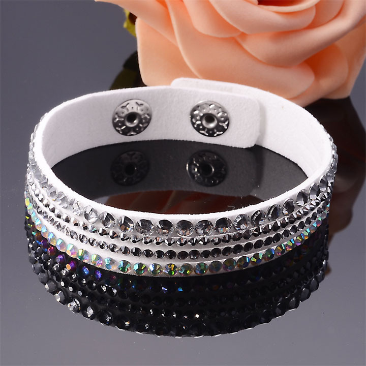 New Arrival 4 Rows Fashion Slake Deluxe Rhinestone Bling Full Crystal Wrap Bracelet Bangle Wirstband For Women Gift