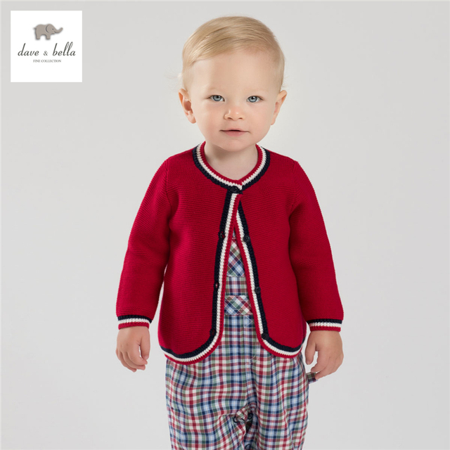 DB3968 dave bella autumn baby boys preppy style cardigan boys cotton red sweater  kids cardigan