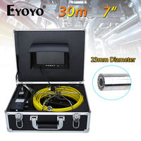 Eyoyo 30M 7 LCD 23mm Wall Drain Sewer Pipe Line Inspection Camera System CCTV Cam 1000TVL Snake Inspection Color HD Sun Shield