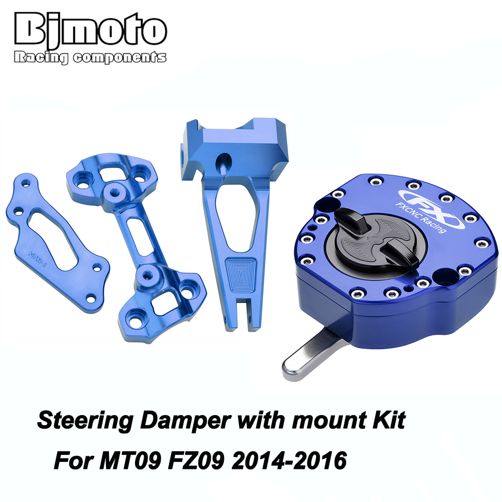 Bjmoto MT09 Street Rally Alloy Steering Damper Stabilizer Safety Control Mouting Bracket For Yamaha MT09 MT 09 FZ 09 2014-2017 gt motor motorcycle cnc steering damper stabilizerlinear reversed safety control with bracket for yamaha mt09 mt 09 fz 09 13 17