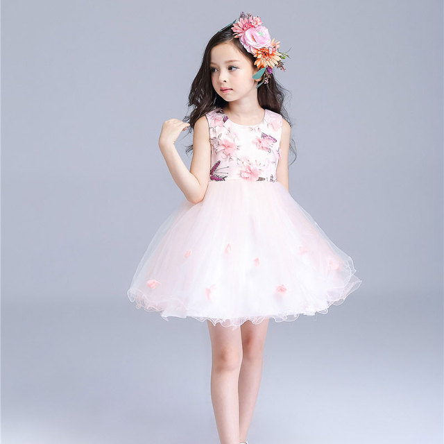 2fa54f43312 flower girl dresses butterfly patterm pink petal Girls Wedding Dress for  party and wedding flutty robe fille enfant 1-9T