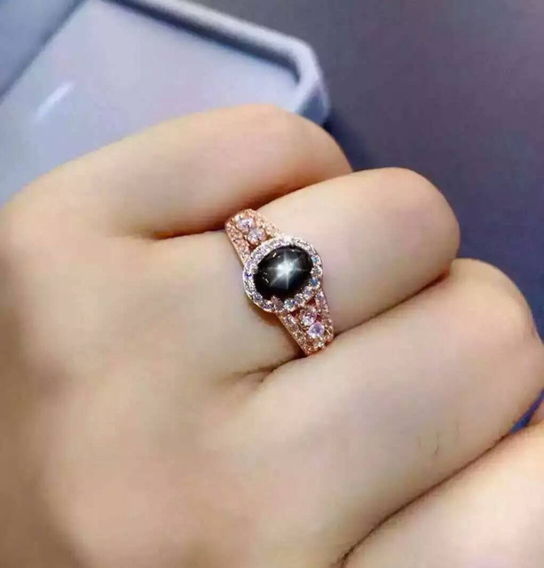 Natural Starlight sapphire gem Ring Natural gemstone ring S925 sterling silver trendy Elegant round Hollow women girl Jewelry