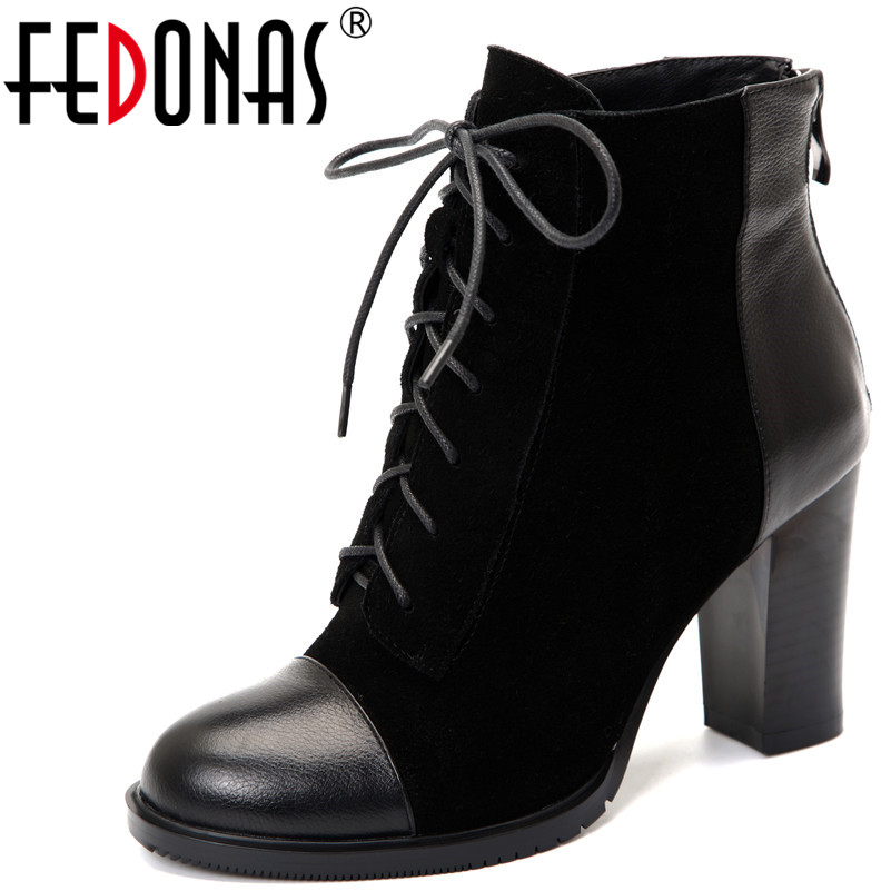 цена на FEDONAS 1Fashion Women Ankle Boots Round Toe Cow Suede High Heels Shoes Woman Autumn Winter Warm Cross-tied Quality Basic Boots
