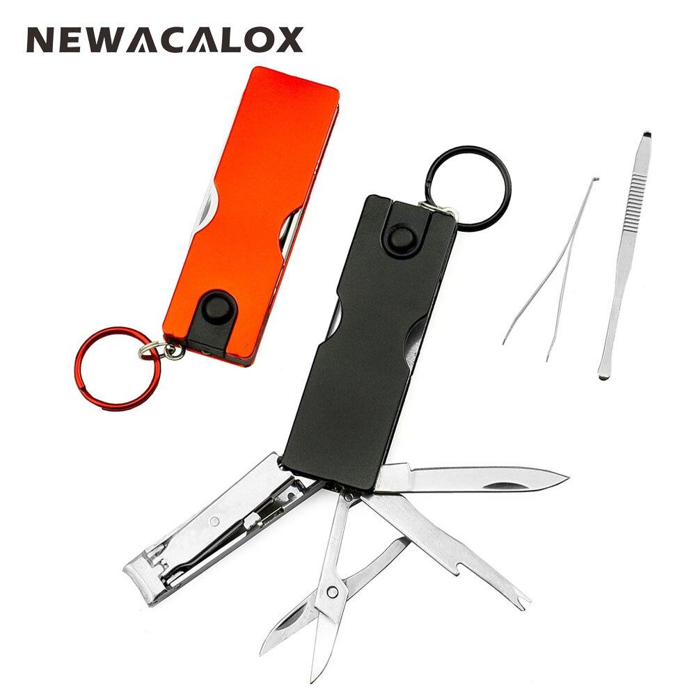 NEWACALOX Mini Mode Keychain Schweizer Messer Led-leuchten Nagelknipser Earpick Schere Pinzette Tasche Multifunktions Handwerkzeuge