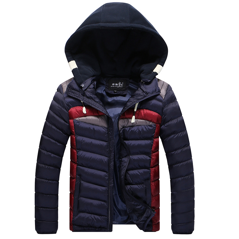ФОТО Contrast Color Hooded Design Men Parka Size M-3XL Casual & Fit Men's Winter Jacket Stand Collar Thick Man Down Jacket Y1115-102E