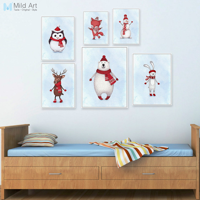 Kawaii Watercolor Christmas Animals Deer Snowman Poster Prints Nursery Wall Art Picture Canvas Painting No Frame
