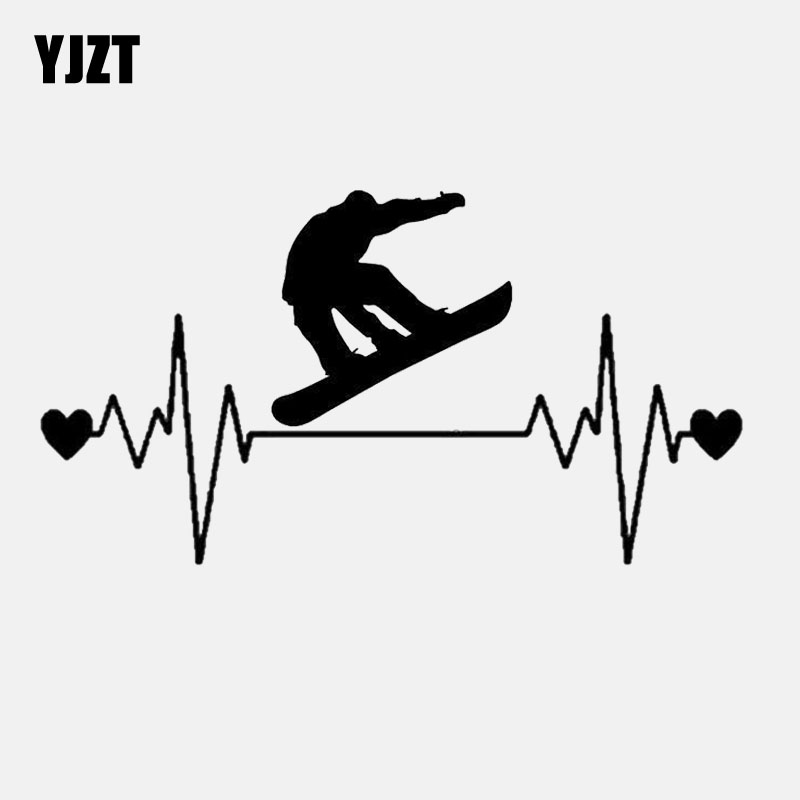 YJZT 16.1CM*9CM  Fashion Snowboard Heartbeat Lifeline  Decal Vinyl Black/Silver Car Sticker C22-1179