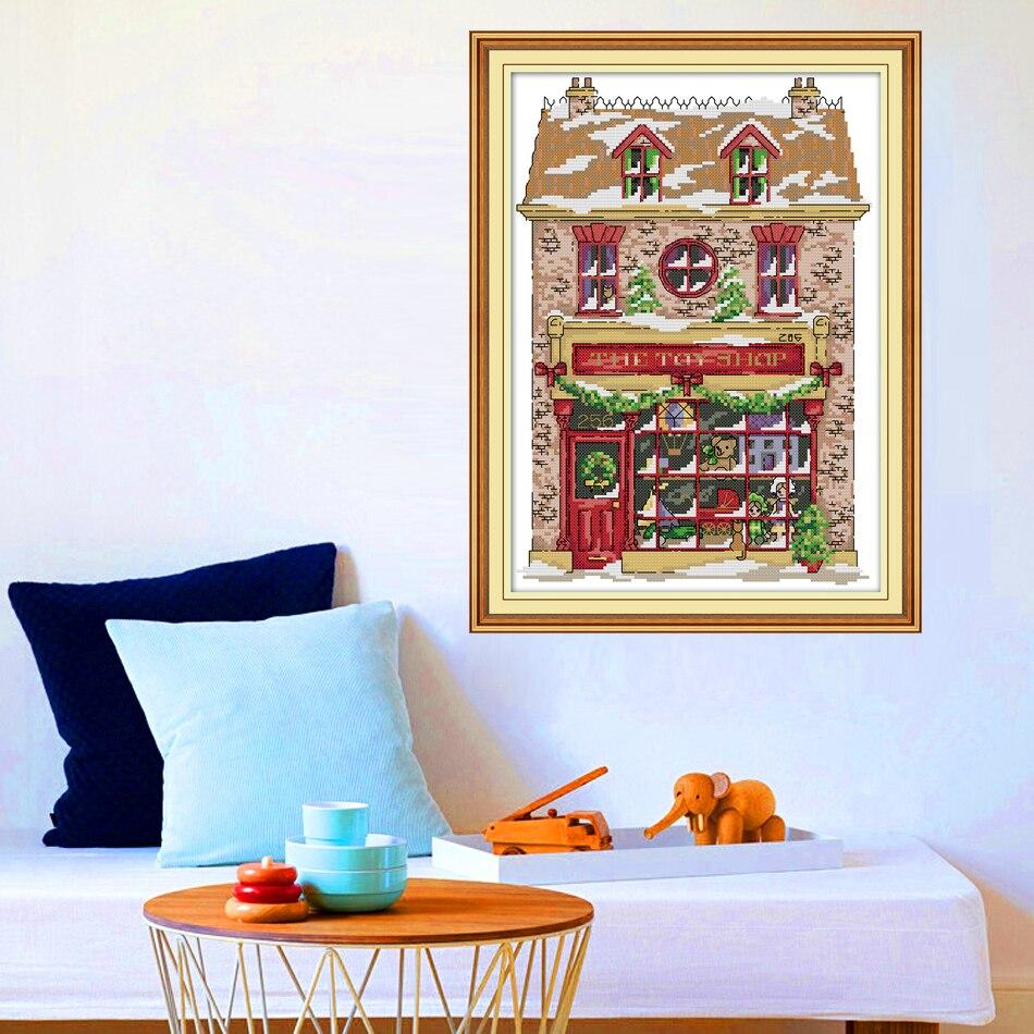Joy Sunday,Christmas toy house,cross stitch embroidery set,printing cloth embroidery kit,needlework,Christmas style cross stitch (1)