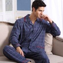 Весна Осень мужская Пижама С Длинным Рукавом Пижамы Хлопка Плед Кардиган Пижамы Мужчины Lounge Pajama Наборы Плюс размер 4XL 5XL сна(China (Mainland))